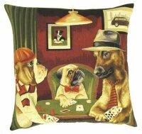 Gobelin Kissen Hunde Poker