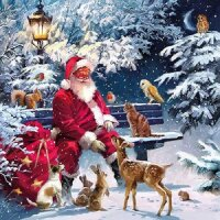 20 Servietten Weihnachtsmann mit Tieren