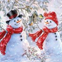 20 Servietten Schneemänner mit Vogelhaus