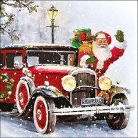 20 Servietten Weihnachtsmann Oldtimer