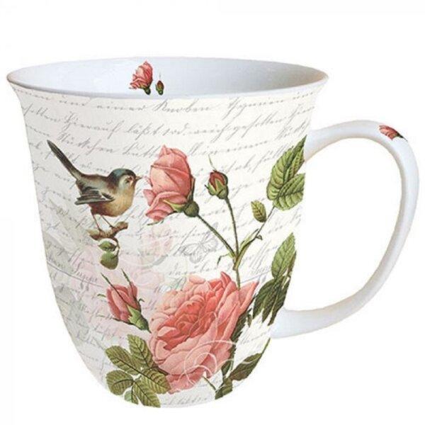 Tasse Vogel mit Rosen
