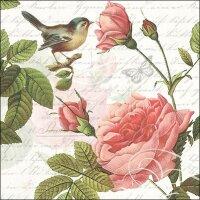 20 Servietten Vogel mit Rosen