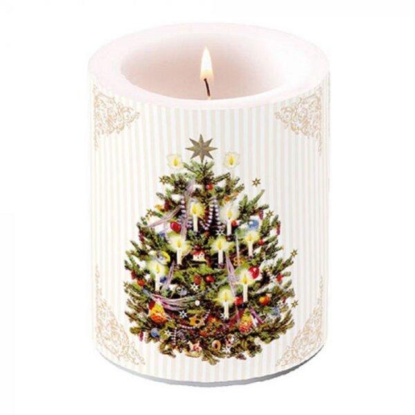 Kerze groß Weihnachtsbaum creme