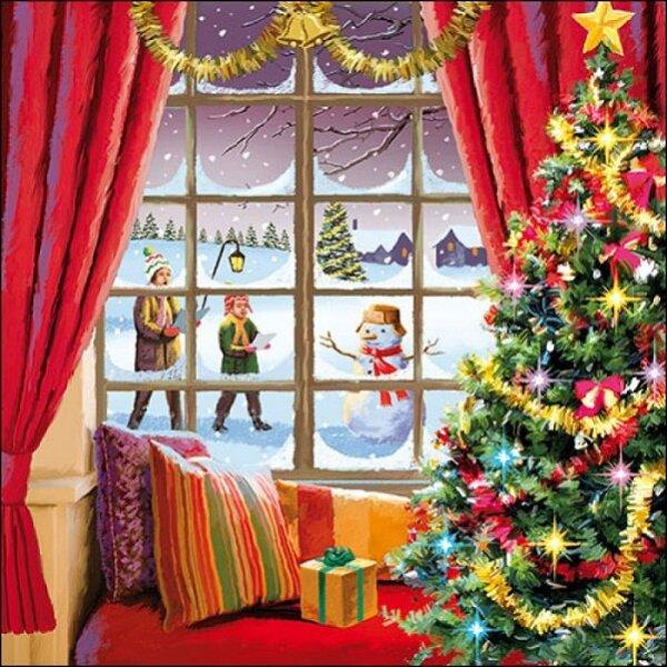 20 Servietten Weihnachtsfenster