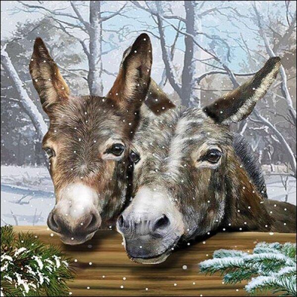 20 Servietten Esel im Schnee