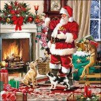 20 Servietten Weihnachtsmann am Kamin