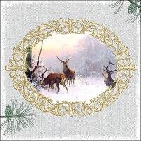 20 Servietten Elegant Deers Grey