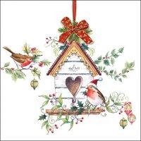 20 Servietten Vogelhaus Weihnachten