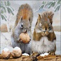 20 Servietten Eichhörnchen mit Nüssen