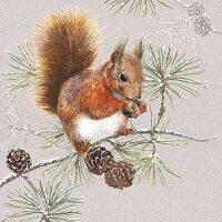 20 Servietten Eichhörnchen mit Nuss